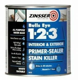 Zinsser Bulls Eye 123 Primer Sealer Stain Killer Paint 500ml 1l  2.5l white.
